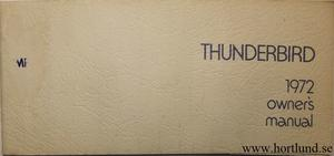 1972 Ford Thunderbird Owners Manual