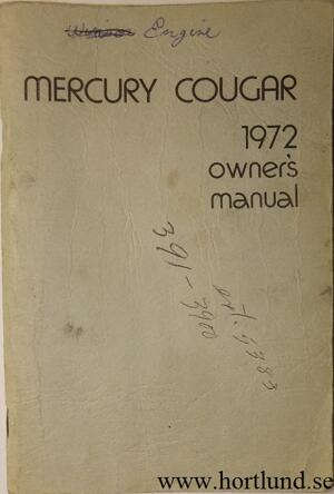 1972 Mercury Cougar Owners Manual