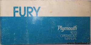 1972 Plymouth Fury Operators  Manual