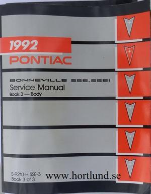 1992 Pontiac Bonneville SSE & SSEi Service Manual
