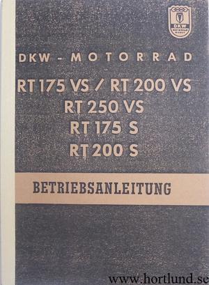 1956 DKW RT 175 VS, RT 200 VS, RT 250 VS, RT 175 S, RT 200 S Instruktionsbok