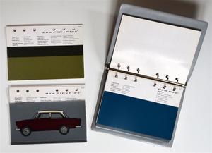 1964 DKW pärm med lackprover F102, F11, F12 S & F12 Roadster