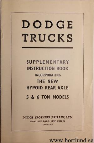 1950 - 1951 Dodge Truck 5 & 6 Ton Supplement Instruction Book
