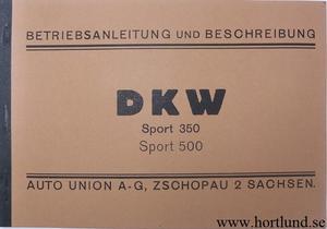 1933 DKW Sport 350 500 Instruktionsbok