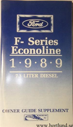 1989 Ford Truck F-series och Econoline 7,3 l Diesel Owner Guide supplement