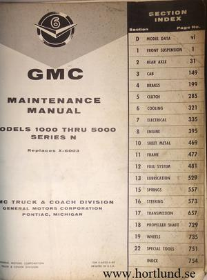 1960 GMC 1000-5000 Truck Maintenance Manual