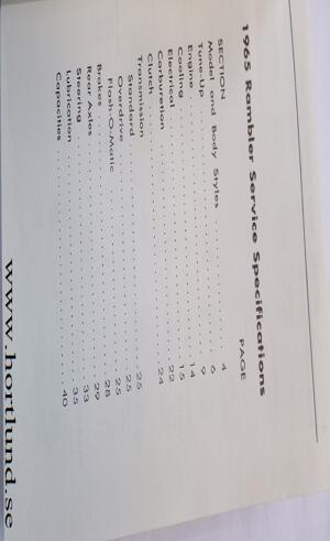 1965 Rambler Service Specifications