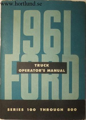1961 Ford Truck 100-800 Operator's Manual
