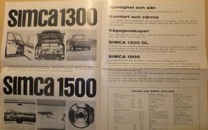 1964 Simca 1300 & 1500 broschyr svensk
