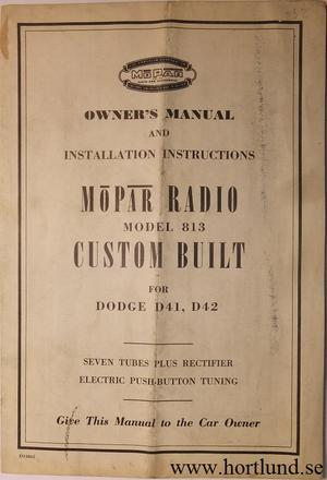 1951 Dodge Radio Model 813 Owner's Manual
