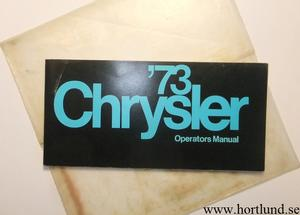 1973 Chrysler Operators  Manual