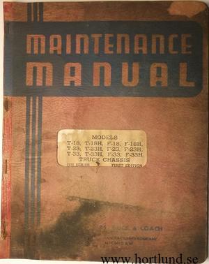 1938 GMC T & F 18, 23, 33 Truck Maintenance Manual