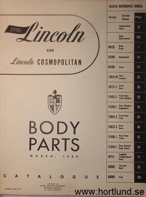 1950 Lincoln Body Parts Catalogue