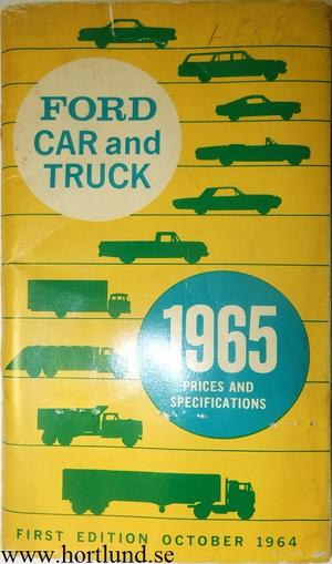 1965 Ford Car and Truck Prices and Specifications 1:st edition