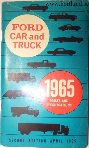 1965 Ford Car and Truck Prices and Specifications 2:nd edition
