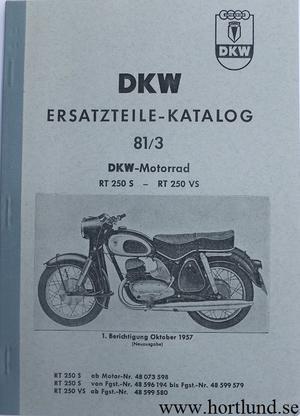 1957 DKW RT 250 S, RT 250 VS Reservdelskatalog