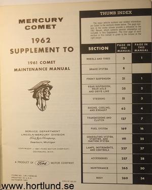 1962 Mercury Comet Maintenance Manual supplement