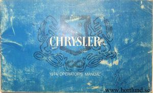 1974 Chrysler Operator's  Manual