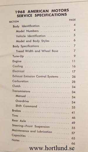 1968 AMC och Rambler Service Specifications