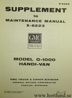 1964 GMC  Model G-1000 Handi-Van Maintenance Manual Supplement