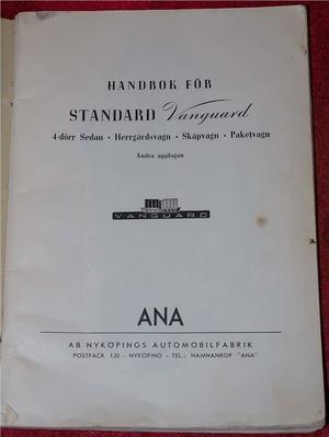 1950-51 Standard Vanguard Handbok svensk