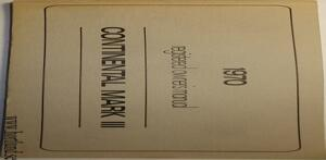 1970 Lincoln Continental Mark III Owners Manual