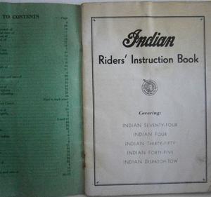 1947 Indian Riders Instruction Book alla modeller