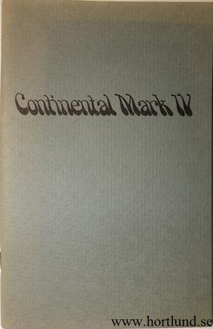 1974 Lincoln Continental Mark IV Owners Manual