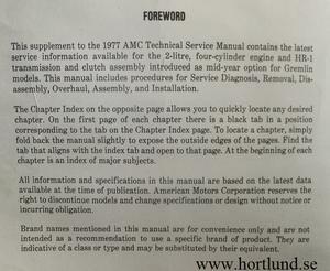 1977 AMC Gremlin Technical Service Manual supplement 2