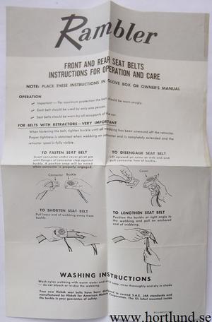 1965 Rambler Seat Belts Instruktion