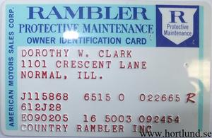 1965 Rambler Protective Maintenance Owner Identification Card