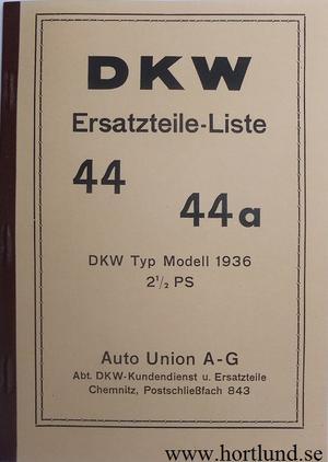 1936-1940 DKW 2½ PS 3 PS Reservdelskatalog