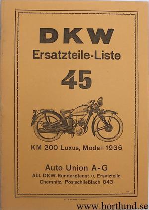 1936 DKW KM 200 Luxus Reservdelskatalog