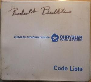 1973 Plymouth & Chrysler och Imperial Code Lists