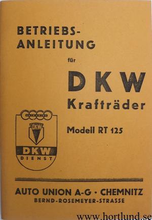 1940 DKW RT 125 Instruktionsbok
