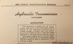 1945-1957 GMC GM Coach  Hydraulic Transmission, Clutch and Controls Maintenance Manual