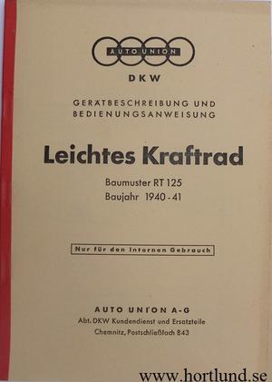 1940-1941 DKW RT 125 Instruktionsbok