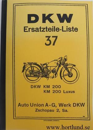 1934-1935 DKW KM 200 KM 200 Luxus Reservdelskatalog