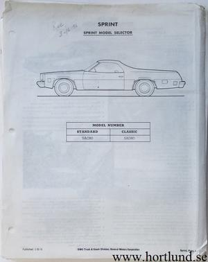1977 GMC Dealer information Sprint, Pickup, Jimmy, Suburban, Van