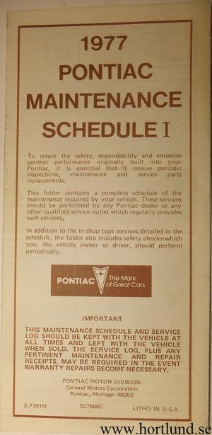 1977 Pontiac Maintenance Schedule I alla modeller
