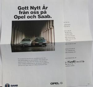 1992 SAAB 9000 och 1991 Opel Calibra broschyr