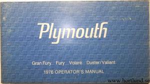 1976 Plymouth Gran Fury Fury Voalaré Duster/Valiant Operator's Manual