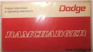 1976 Dodge Ramcharger Operator's Manual