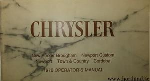 1976 Chrysler Operator's  Manual