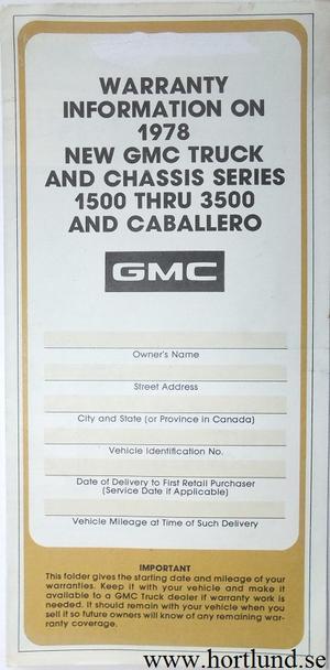 1978 GMC 1500-3500 Truck Warranty Information