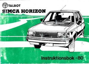 1980 Talbot Simca Horizon instruktionsbok svensk