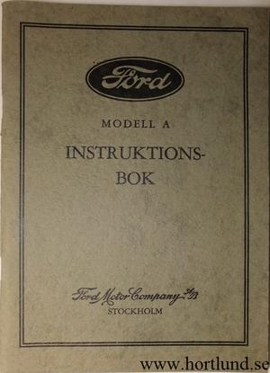 1930 Ford Model A Instruktionsbok