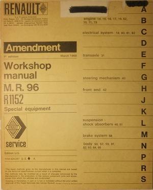 1968 Renault 16 R 1152 Workshop Manual