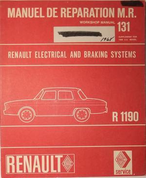 1968 Renault 10 Major R 1190 Workshop Manual