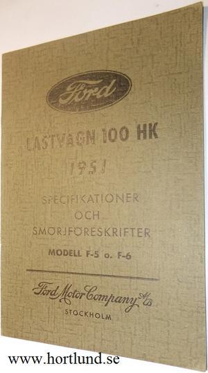 1951 Ford Lastvagn F-5 och F-6 instruktioner svensk